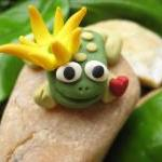 Prince Charming - Polymer clay frog..