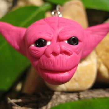 Pink Yoda - Polymer clay pendant charm, ornament, cell phone charm
