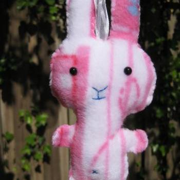 Stuffed pink and white fleece bunny softie, plushie hanging decoration, pocket pal